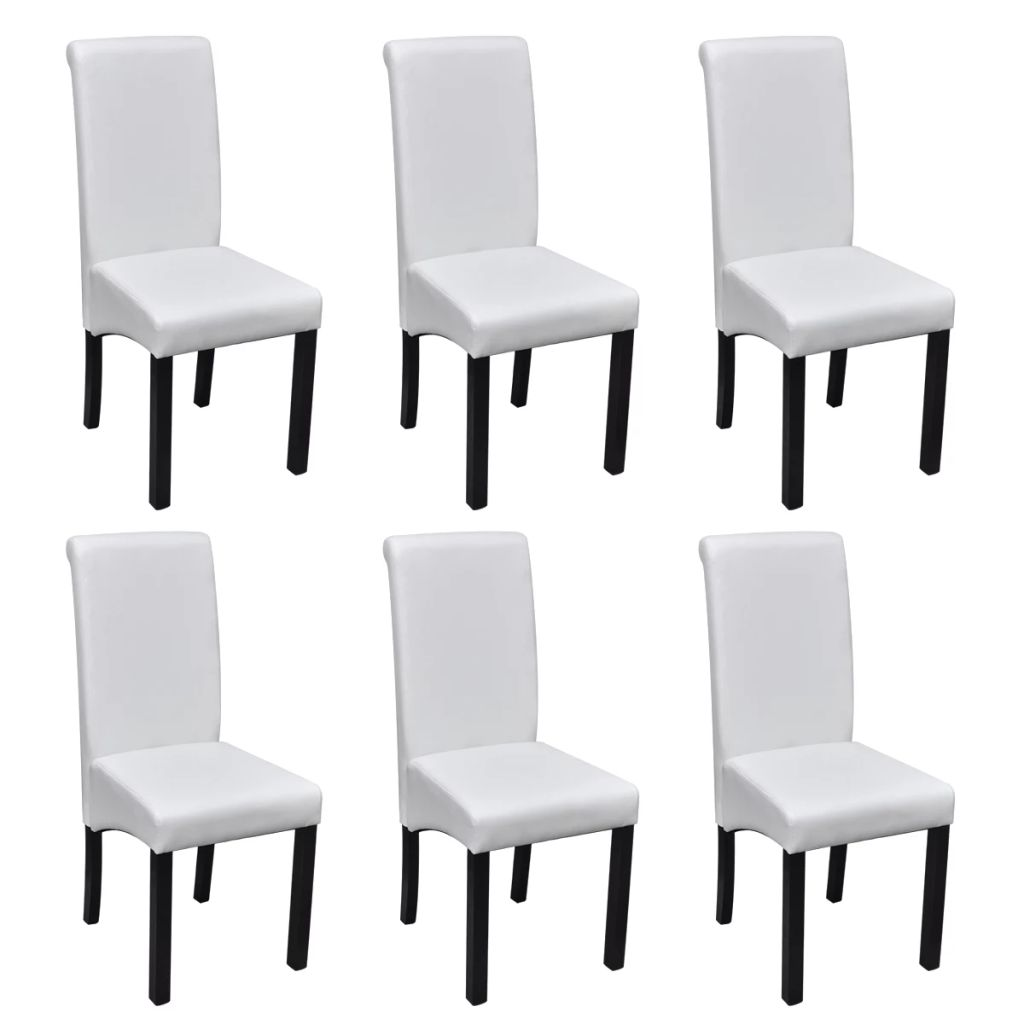 Dining Chairs 6 pcs White Faux Leather