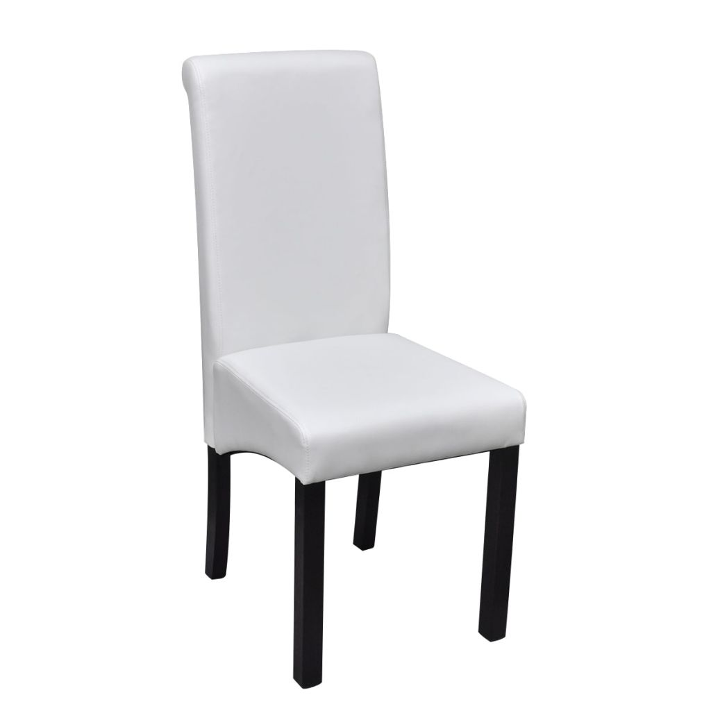 Dining Chairs 6 pcs White Faux Leather 3