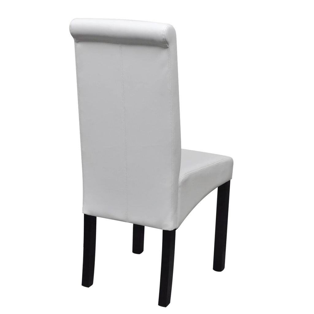 Dining Chairs 6 pcs White Faux Leather 5