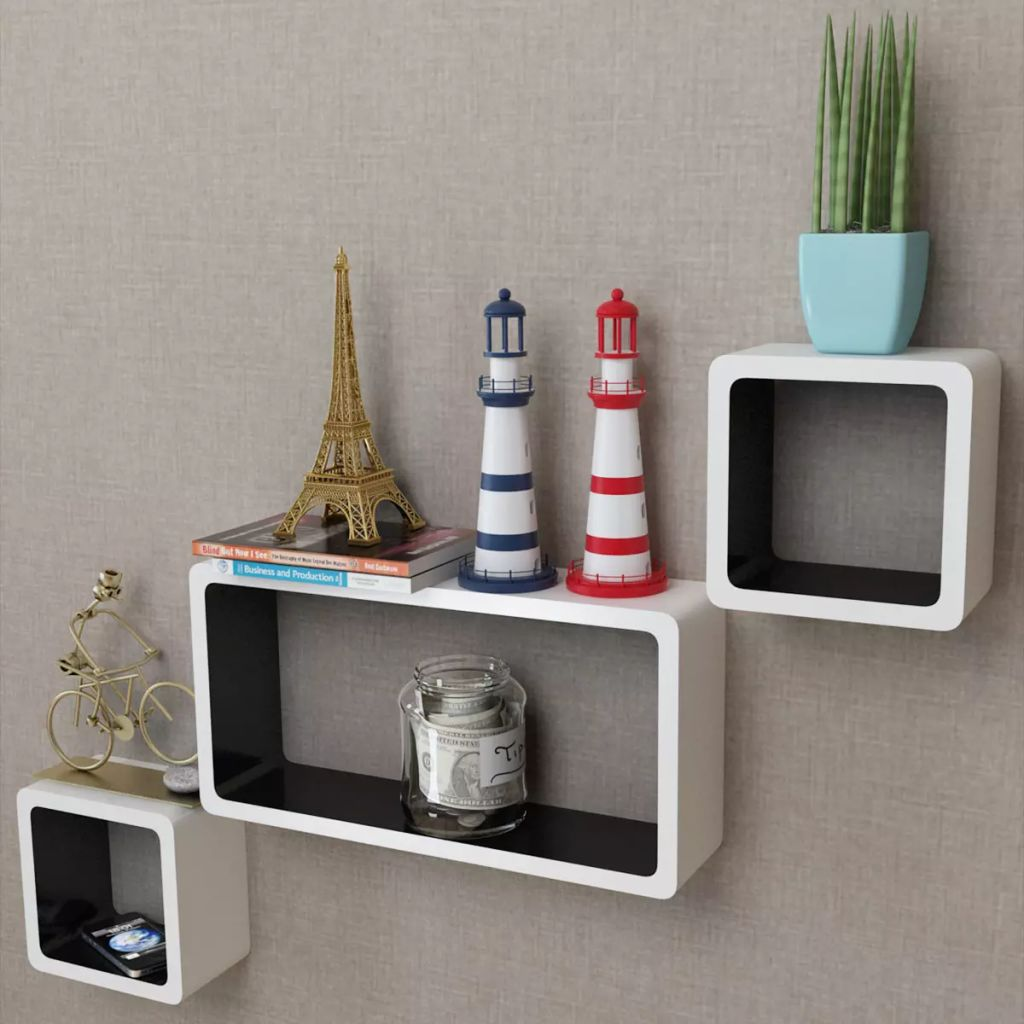 3 White-black MDF Floating Wall Display Shelf Cubes Book/DVD Storage 1