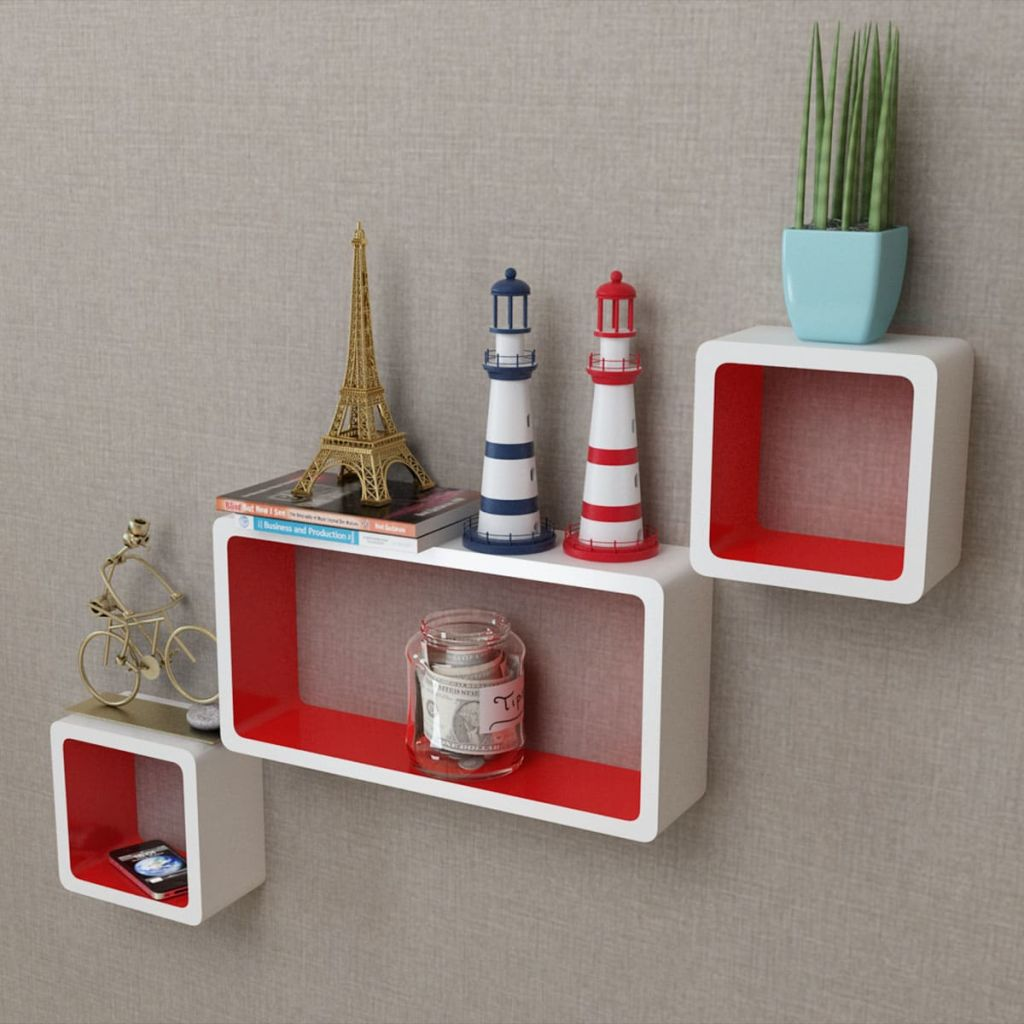 3 White-red MDF Floating Wall Display Shelf Cubes Book/DVD Storage 1