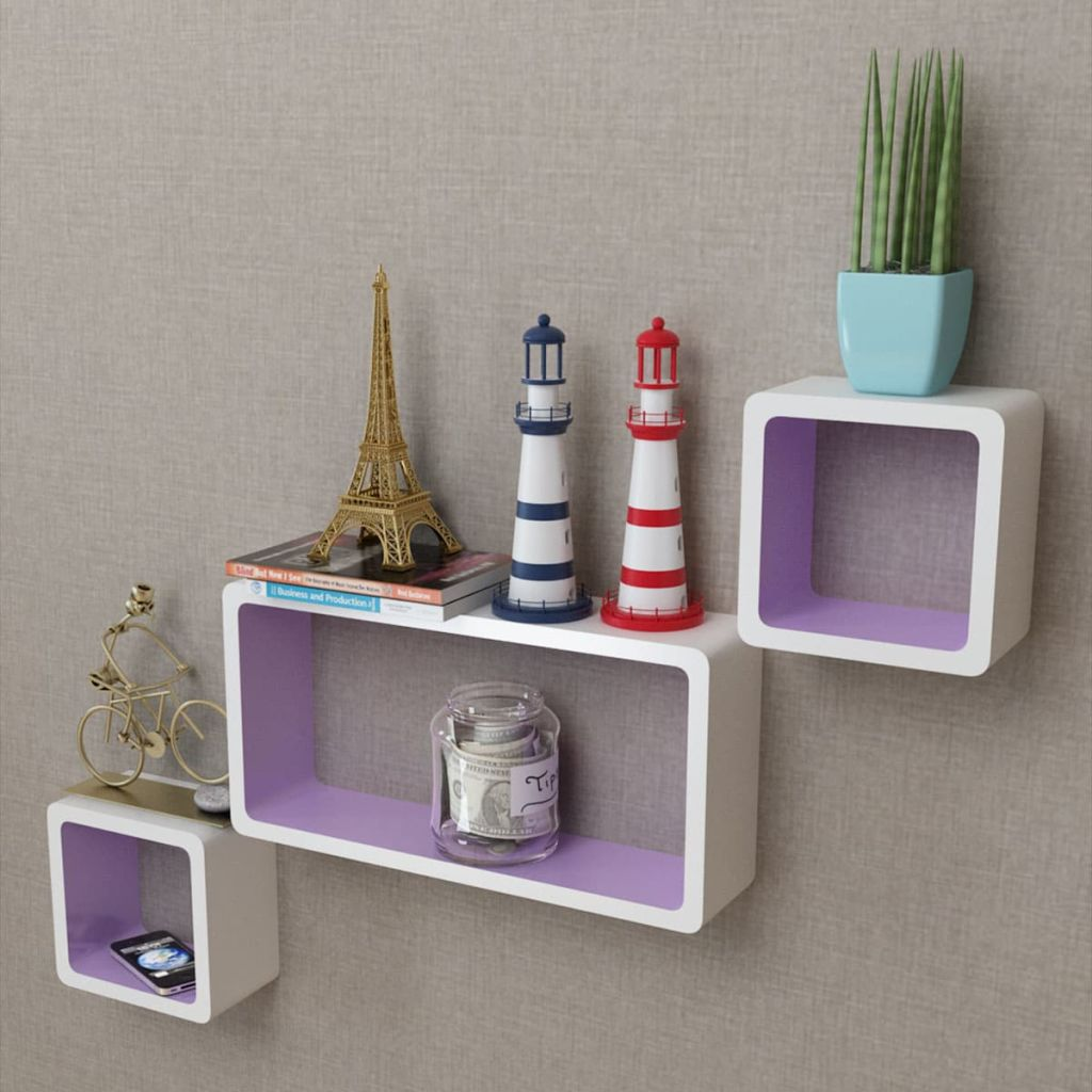 3 White-purple MDF Floating Wall Display Shelf Cubes Book/DVD Storage 1