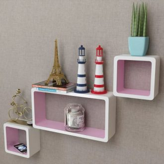 3 White-pink MDF Floating Wall Display Shelf Cubes Book/DVD Storage 1