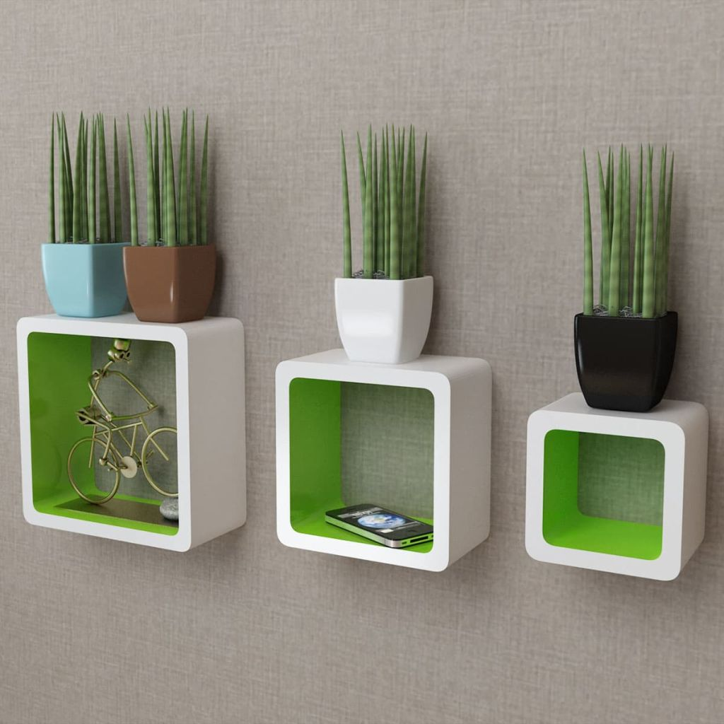 3 White-green MDF Floating Wall Display Shelf Cubes Book/DVD Storage 1