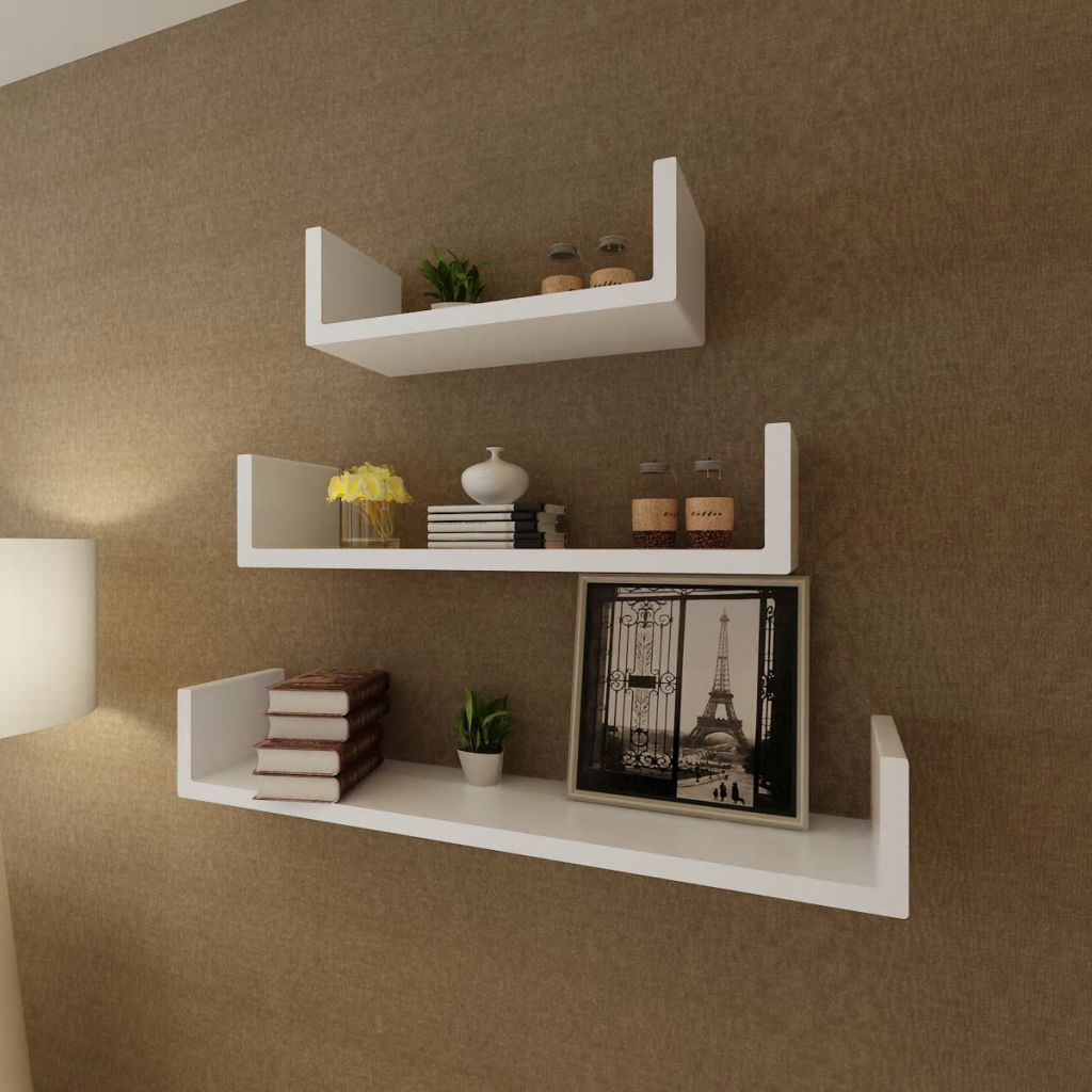 3 White MDF U-shaped Floating Wall Display Shelves Book/DVD Storage 1