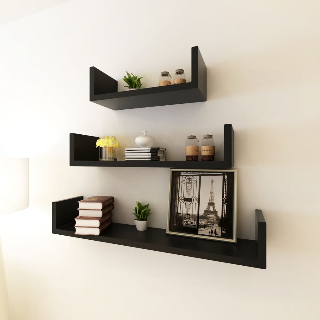 3 Black MDF U-shaped Floating Wall Display Shelves Book/DVD Storage