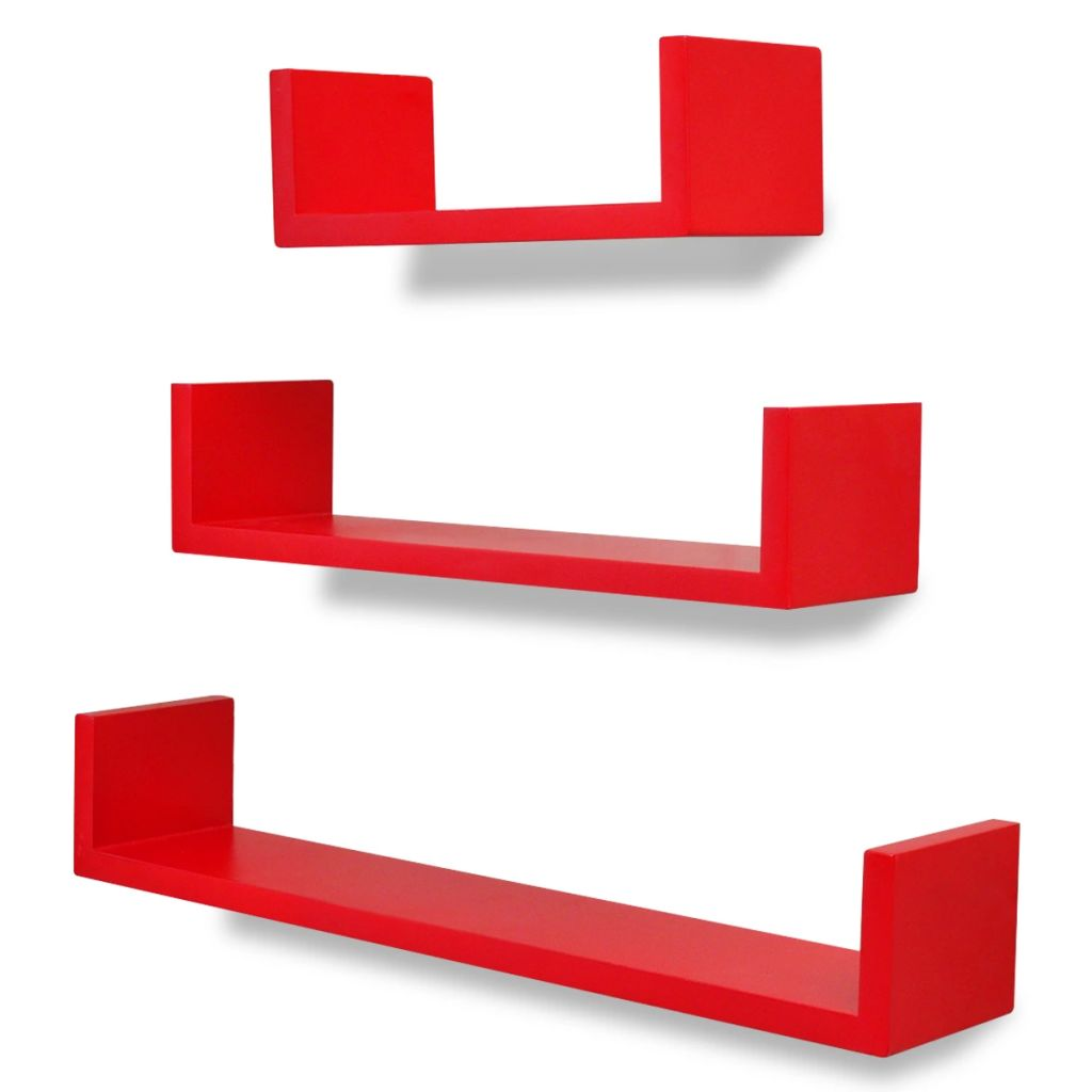3 Red MDF U-shaped Floating Wall Display Shelves Book/DVD Storage 2