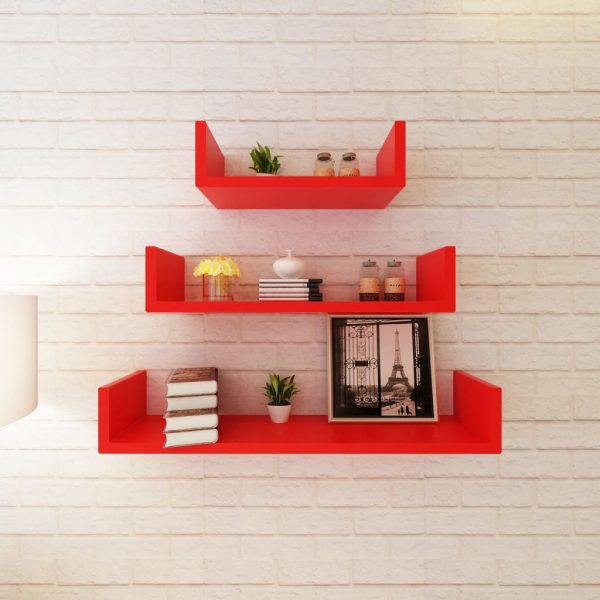 3 Red MDF U-shaped Floating Wall Display Shelves Book/DVD Storage 3
