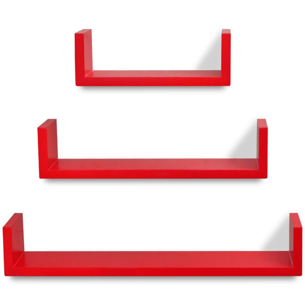 3 Red MDF U-shaped Floating Wall Display Shelves Book/DVD Storage 4
