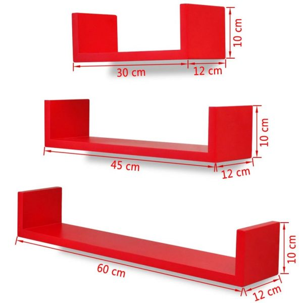 3 Red MDF U-shaped Floating Wall Display Shelves Book/DVD Storage 5