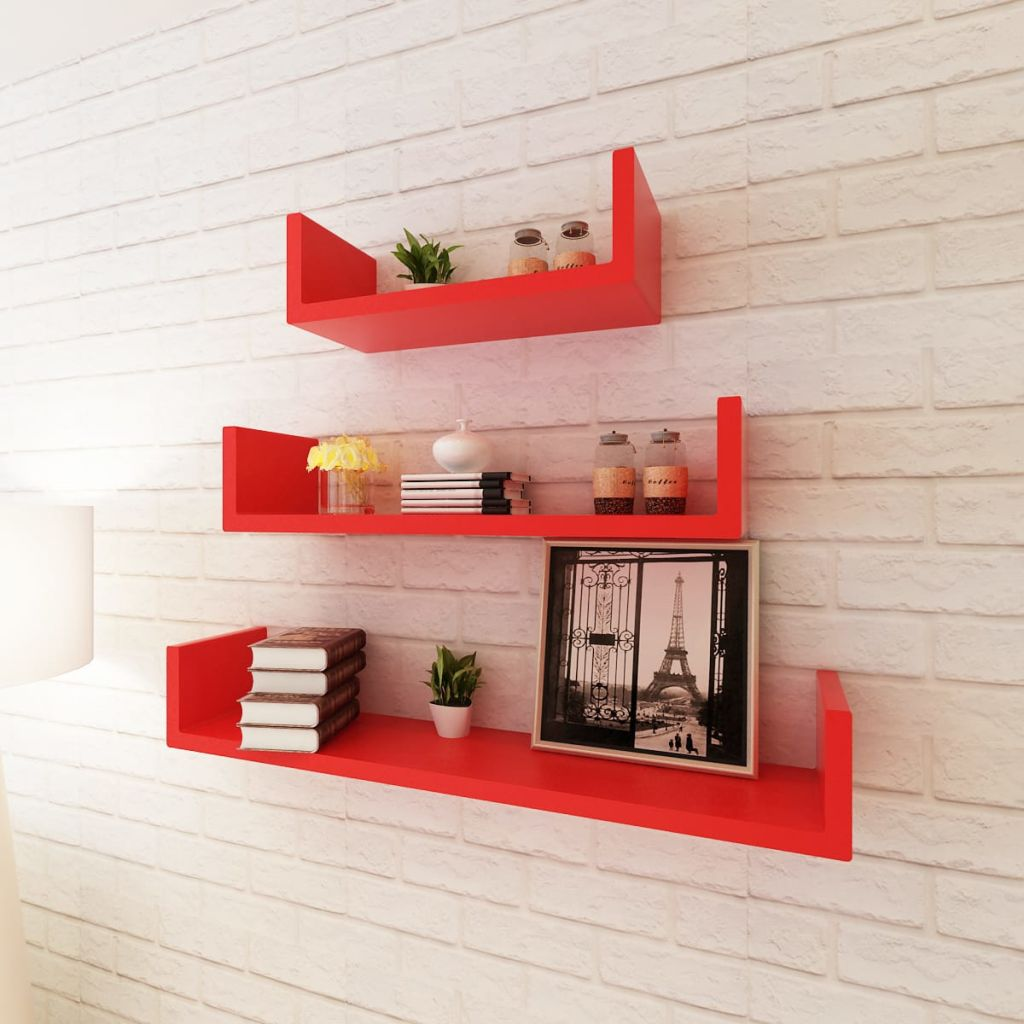 3 Red MDF U-shaped Floating Wall Display Shelves Book/DVD Storage 1