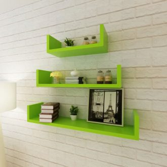 3 Green MDF U-shaped Floating Wall Display Shelves Book/DVD Storage 1