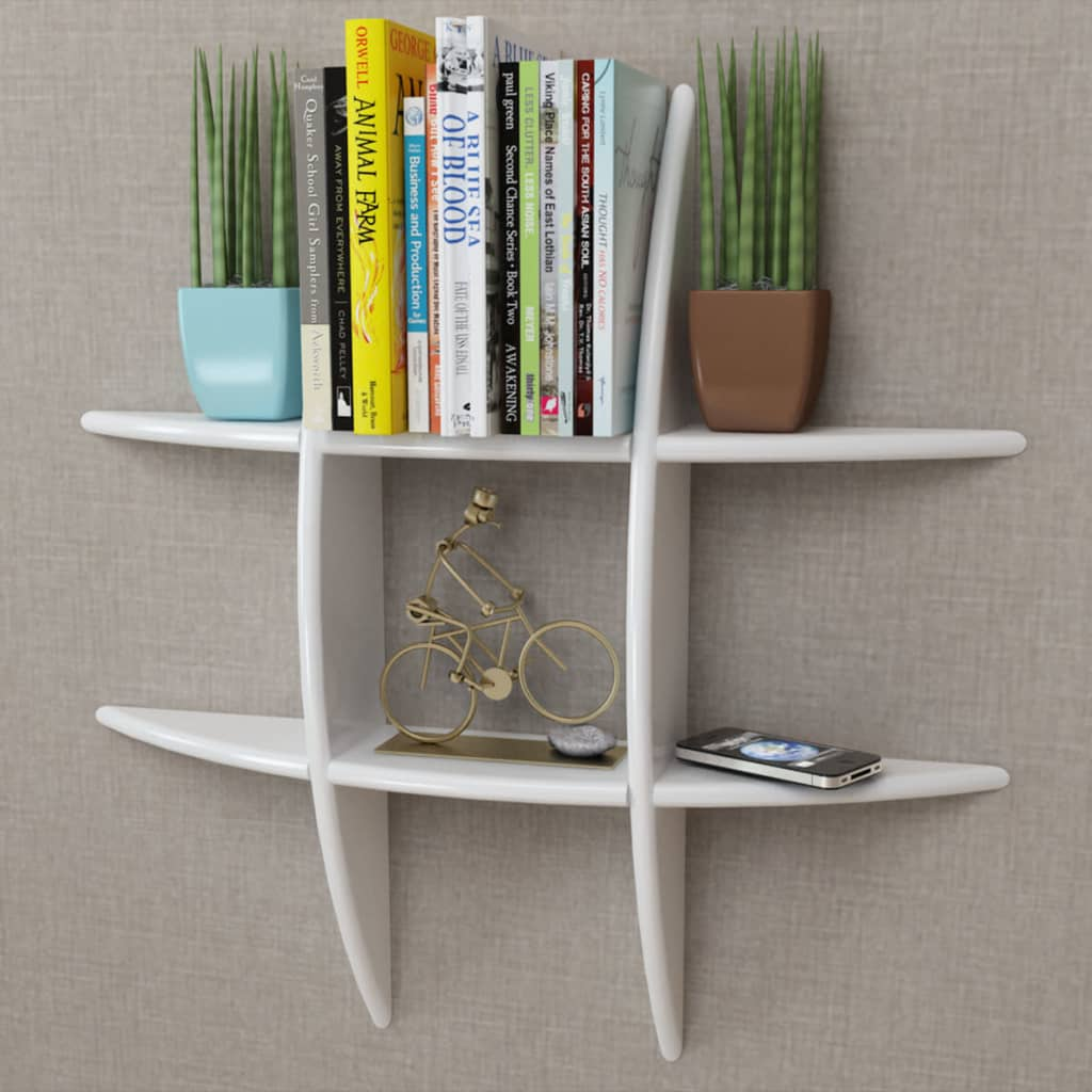 White MDF Floating Wall Display Shelf Book/DVD Storage 1