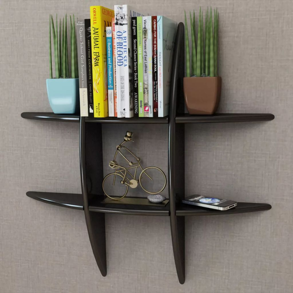 Black MDF Floating Wall Display Shelf Book/DVD Storage 1