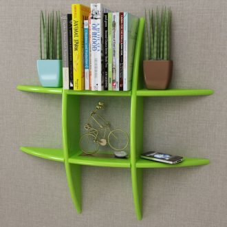 Green MDF Floating Wall Display Shelf Book/DVD Storage 1