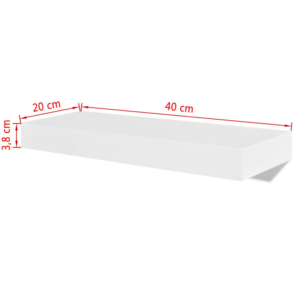 2 White MDF Floating Wall Display Shelves Book/DVD Storage 5