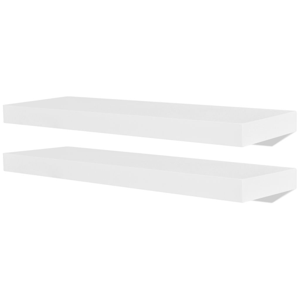 2 White MDF Floating Wall Display Shelves Book/DVD Storage 2