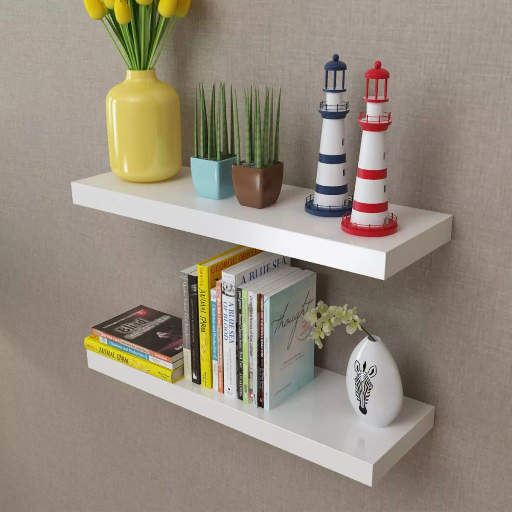 2 White MDF Floating Wall Display Shelves Book/DVD Storage 1