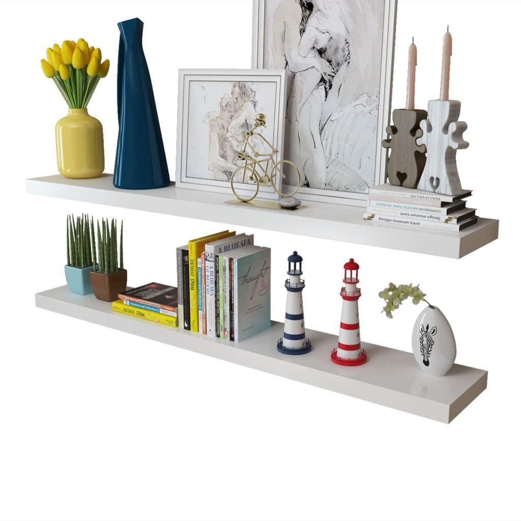 2 White MDF Floating Wall Display Shelves Book/DVD Storage 3