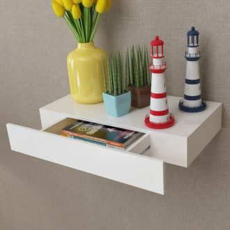 White MDF Floating Wall Display Shelf 1 Drawer Book/DVD Storage 1