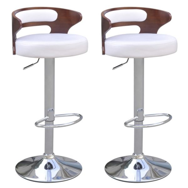 Bar Stools 2 pcs with Bentwood Frame Artificial Leather 1