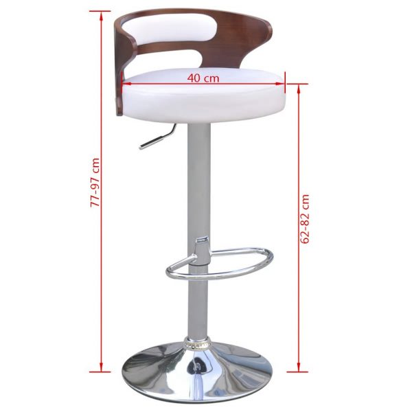Bar Stools 2 pcs with Bentwood Frame Artificial Leather 5