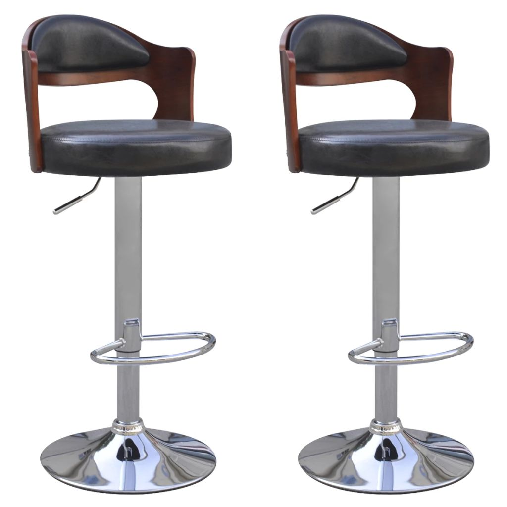 Bar Stools 2 pcs with Bentwood Frame Artificial Leather