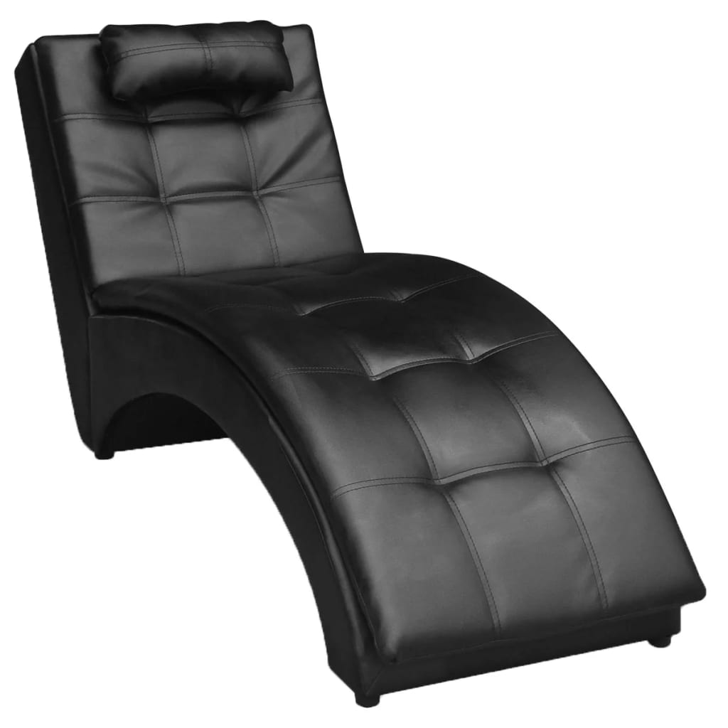 Chaise Longue with Pillow Black Faux Leather 1