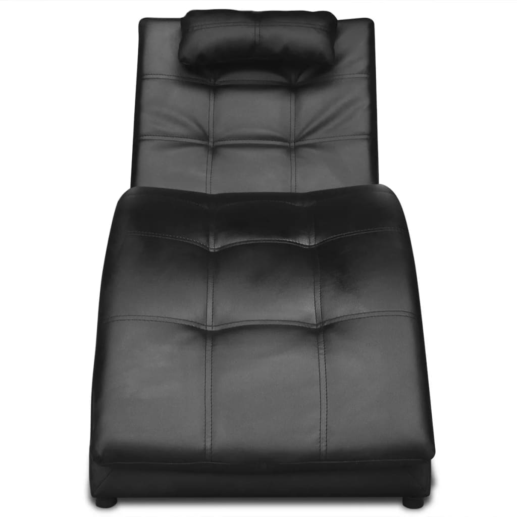 Chaise Longue with Pillow Black Faux Leather 3