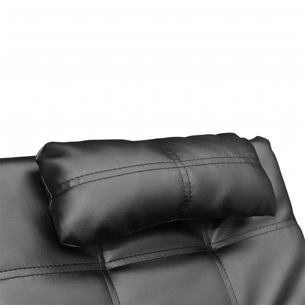 Chaise Longue with Pillow Black Faux Leather 5