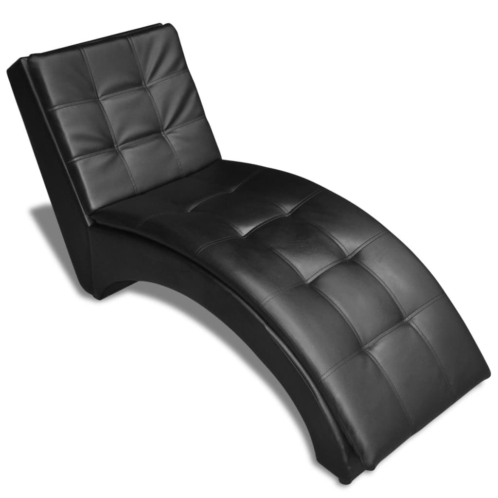 Chaise Longue with Pillow Black Faux Leather 6