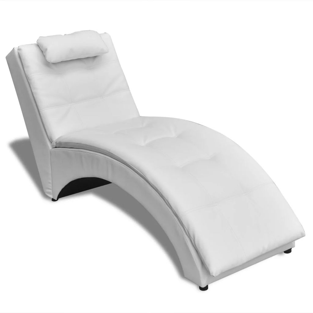 Chaise Longue with Pillow White Faux Leather 1