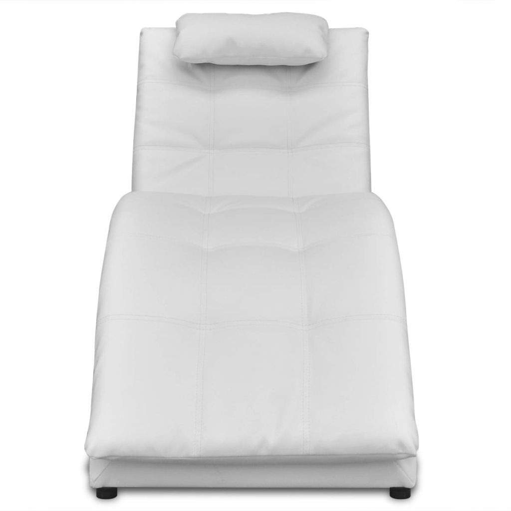 Chaise Longue with Pillow White Faux Leather 3