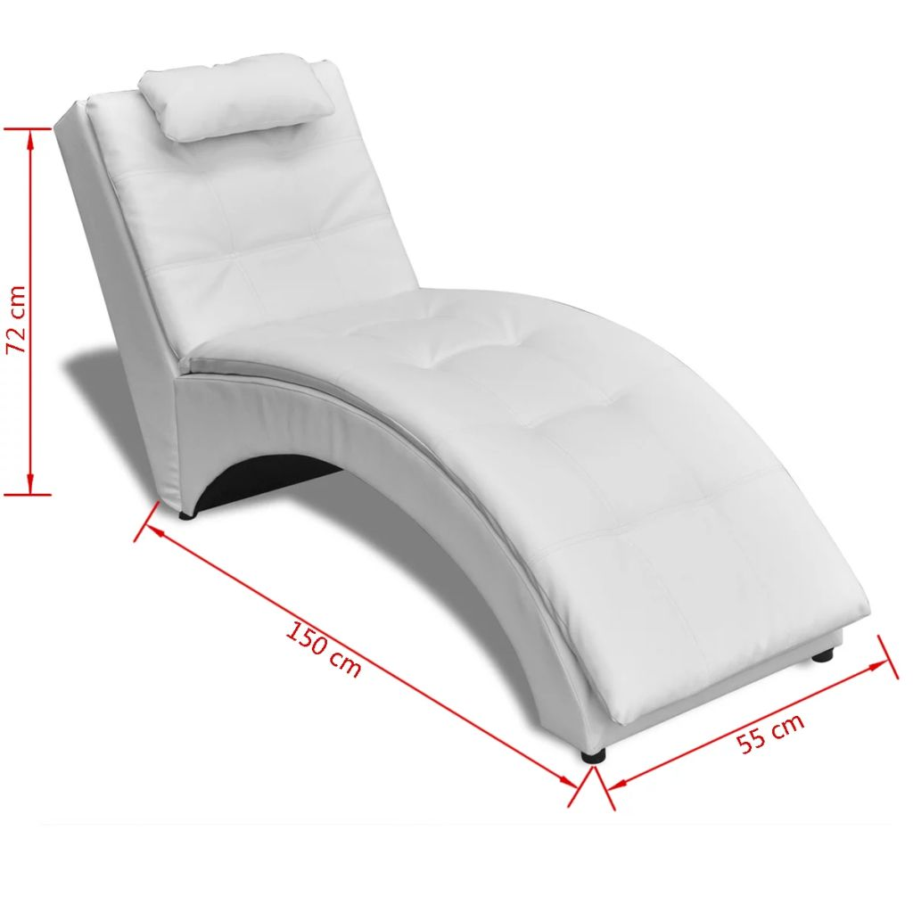 Chaise Longue with Pillow White Faux Leather 6