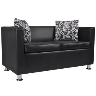 Sofa 2-Seater Artificial Leather Black 1
