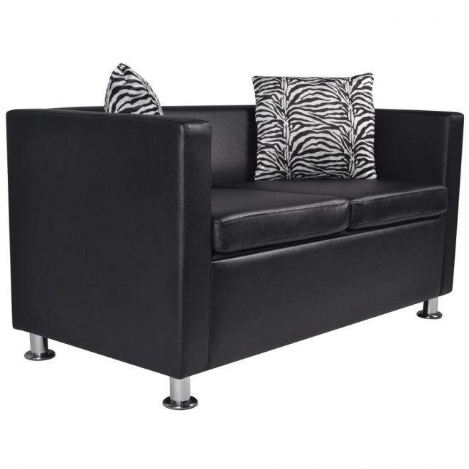Sofa 2-Seater Artificial Leather Black 2