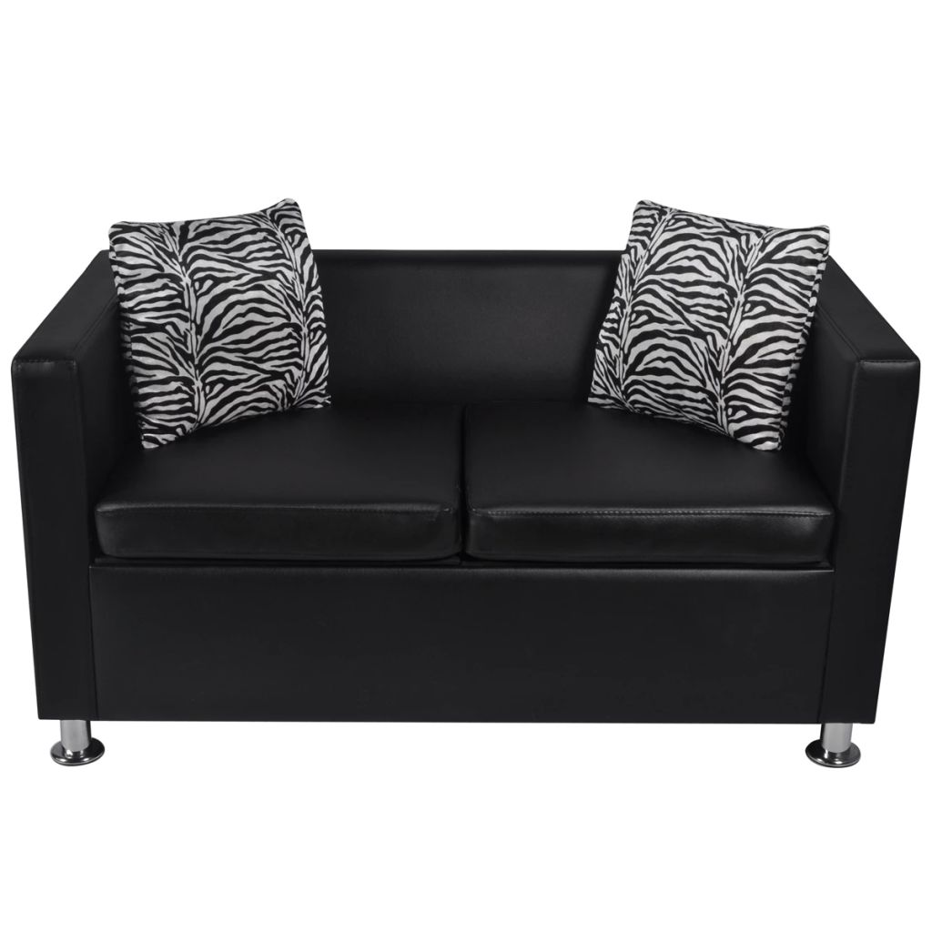 Sofa 2-Seater Artificial Leather Black 3