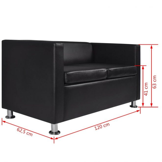 Sofa 2-Seater Artificial Leather Black 6