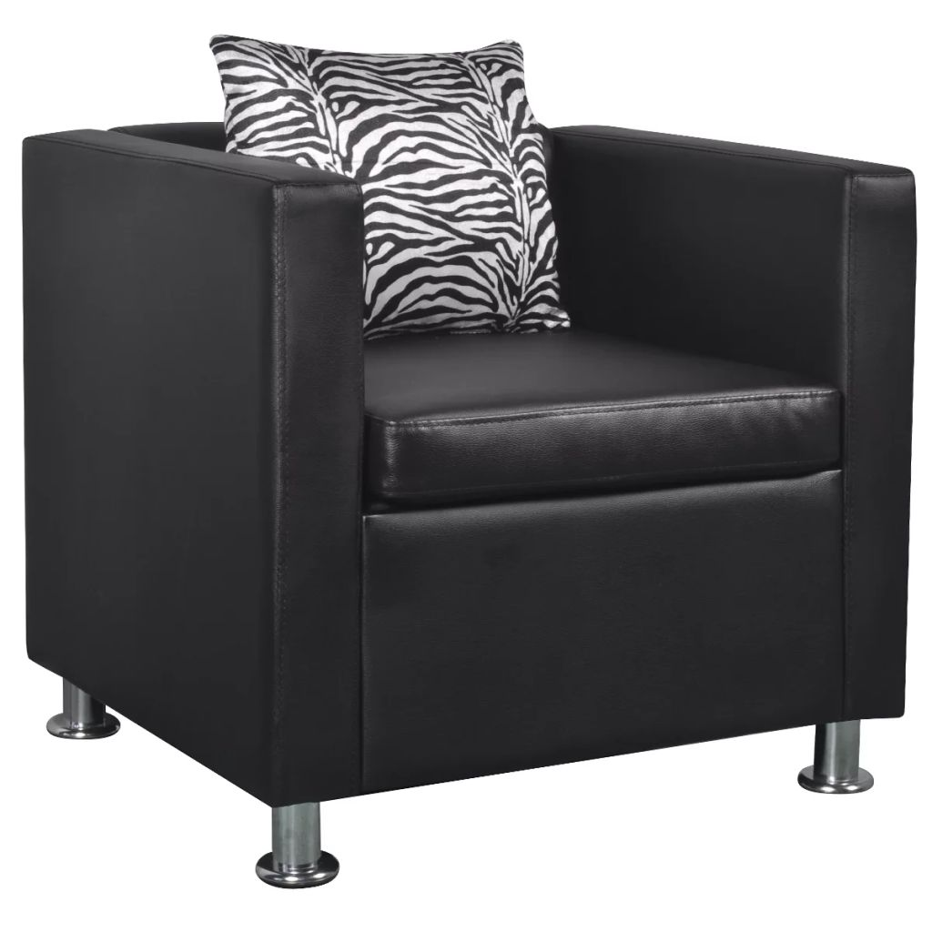 Armchair Black Faux Leather