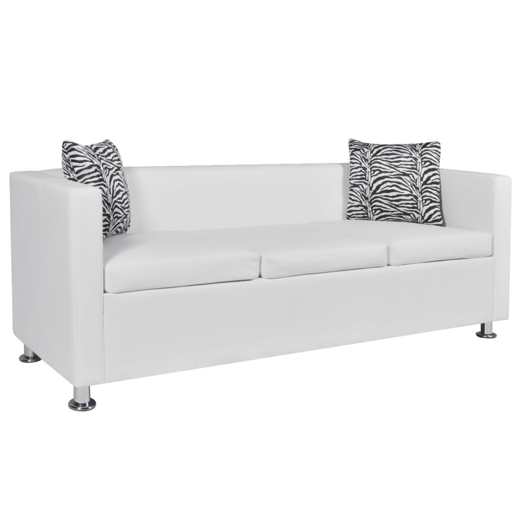 Sofa 3-Seater Artificial Leather White