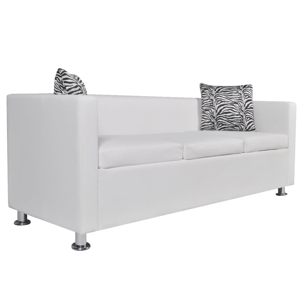 Sofa 3-Seater Artificial Leather White 2
