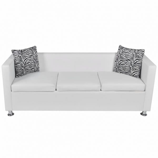 Sofa 3-Seater Artificial Leather White 3