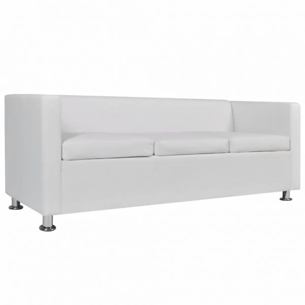Sofa 3-Seater Artificial Leather White 4