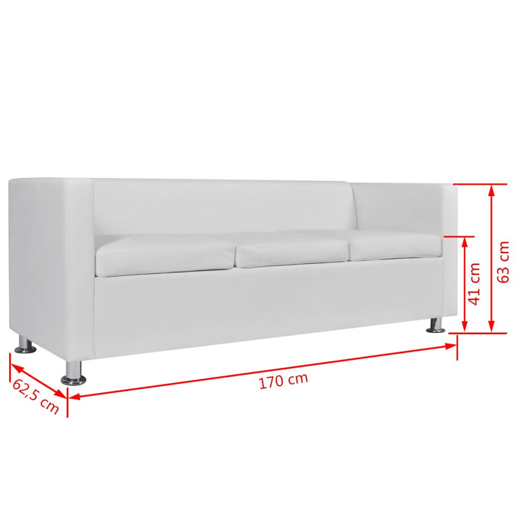 Sofa 3-Seater Artificial Leather White 6