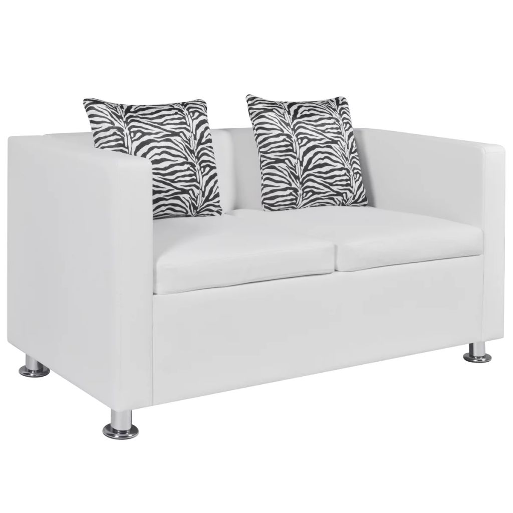 Sofa 2-Seater Artificial Leather White