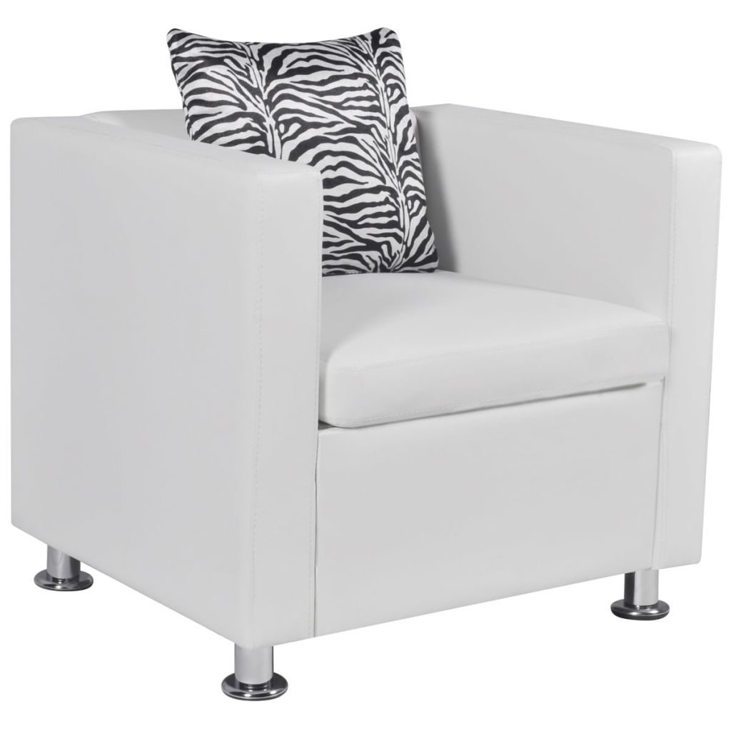 Armchair White Faux Leather 1