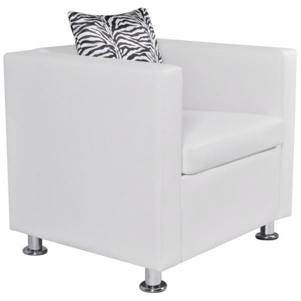 Armchair White Faux Leather 2
