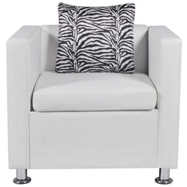 Armchair White Faux Leather 3