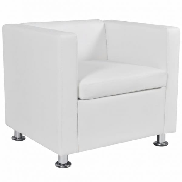 Armchair White Faux Leather 4