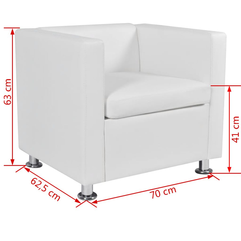 Armchair White Faux Leather 6